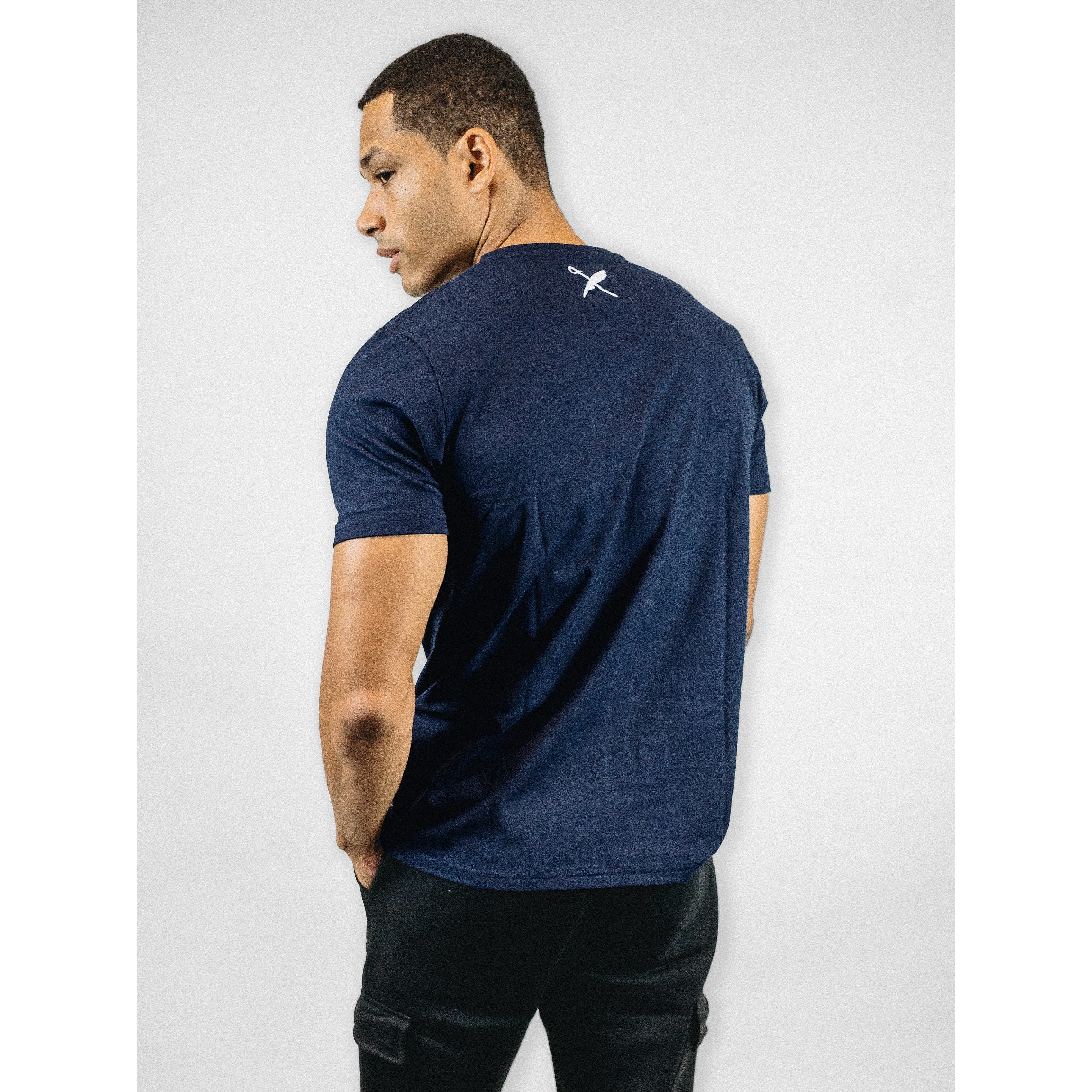 UNISEX BROWER TEE IN NAVY