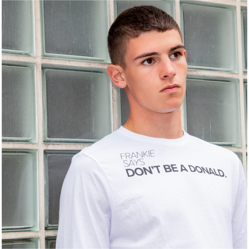DON'T BE A DONALD - UNISEX TEE IN WHITE.