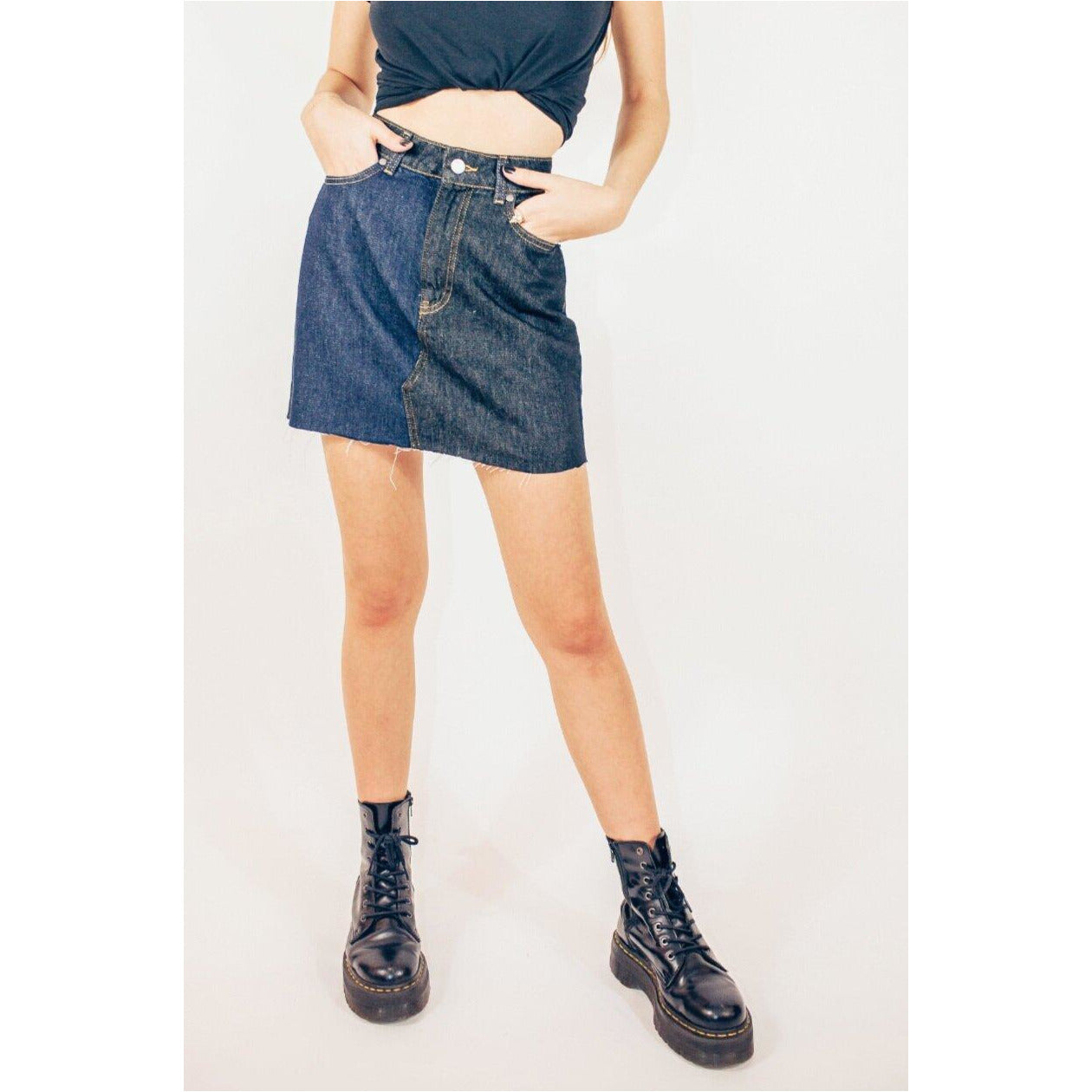 ALICE WOMENS MIX HIGH WAISTED ORGANIC SKIRT IN BLACK-BLUE.