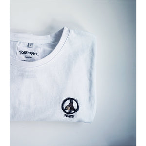 PEACE AND HUMAN RIGHTS UNISEX SAMMY LONG SLEEVE TEE IN WHITE