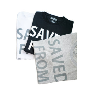 SAVED FROM LANDFILL - WOMENS SLIM FIT TEE IN WHITE, BLACK OR GREY