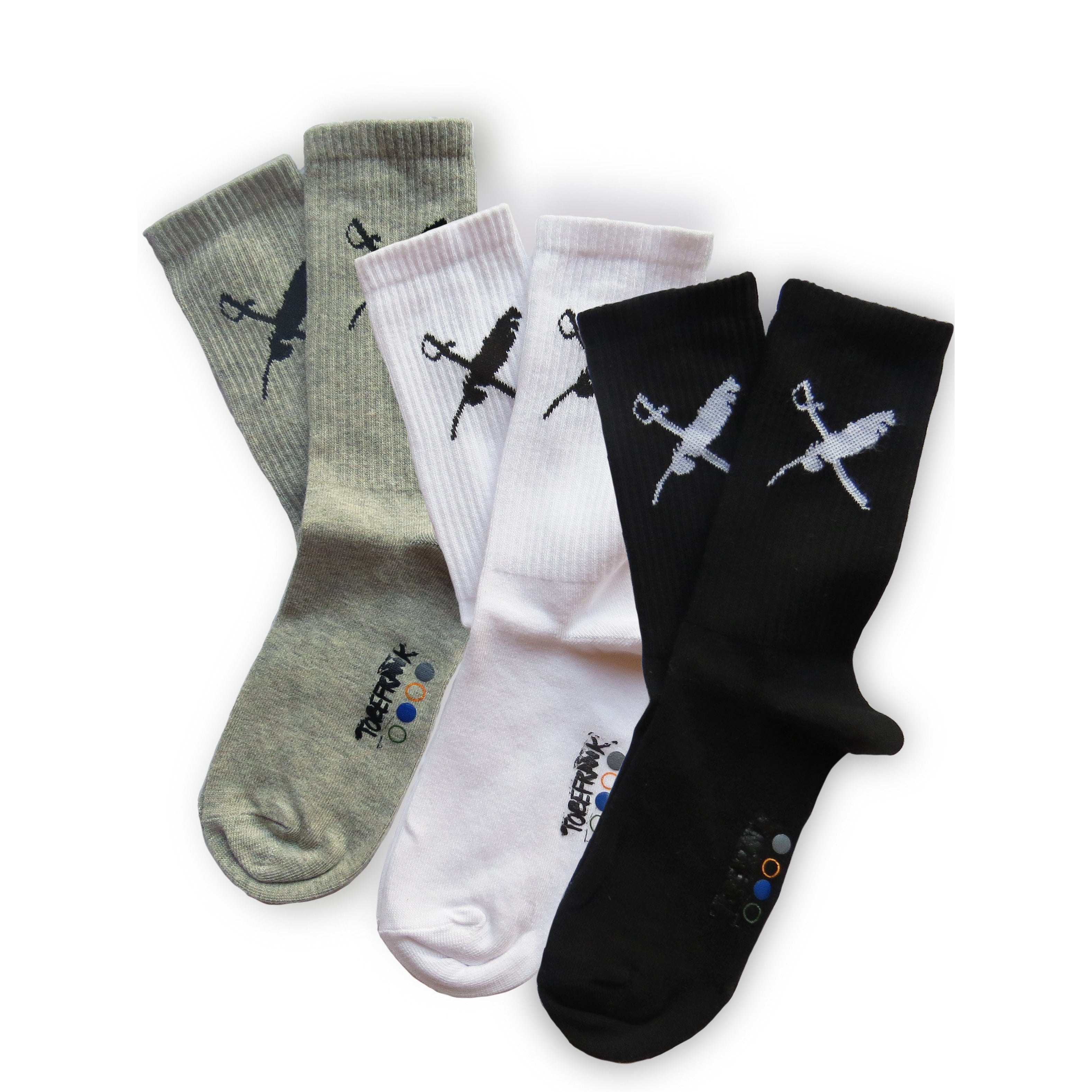 FRANK 3 PACK ORGANIC COTTON SOCKS IN BLACK, WHITE AND GREY