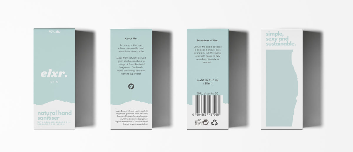 elxr natural hand sanitiser recyclable packaging