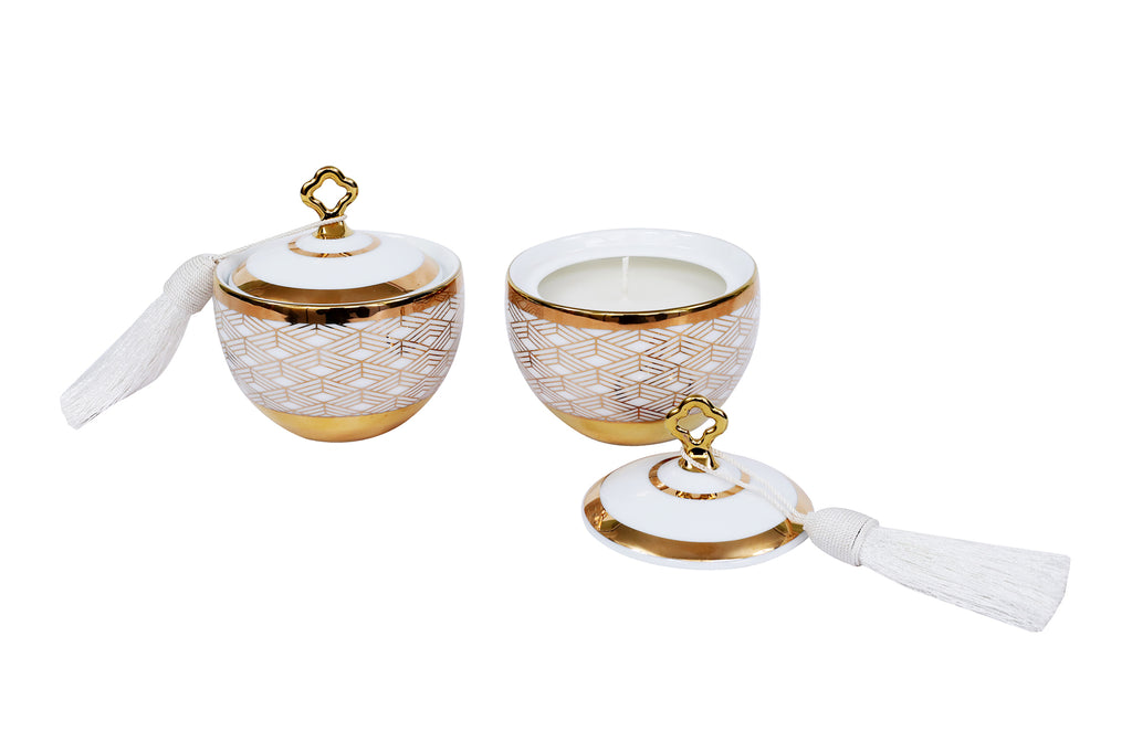 Tassel Jar With  Lid Knob Set Of 2