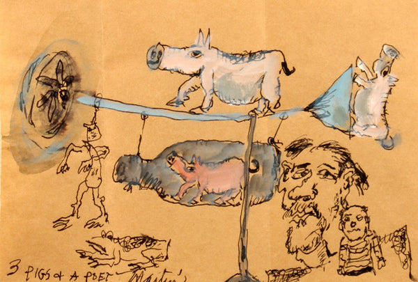 James Martin Artwork '3 Pigs + A Poet' | Available at fosterwhite.com