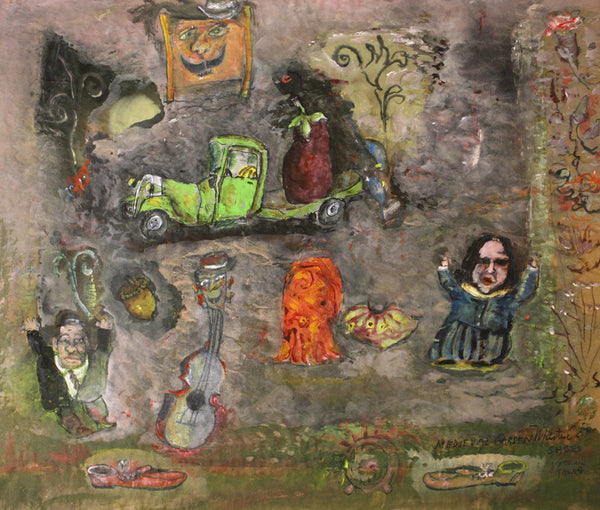 James Martin Artwork 'Medieval Garden, Shoes, Violin Talks' | Available at fosterwhite.com