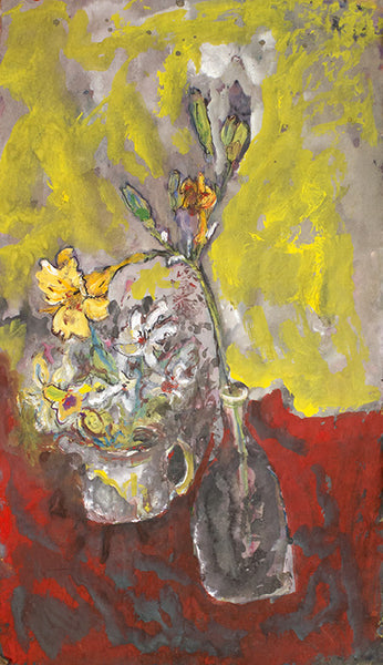 James Martin Artwork 'Untitled (Vase with Flower, Red and Yellow Background)' | Available at fosterwhite.com