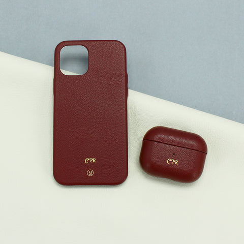 AirPods + iPhone Leather Cases Bundle in Burgundy Red