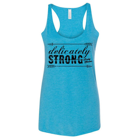 'Delicately Strong' Turquoise Triblend Racerback Tank - Prettyhunter.com