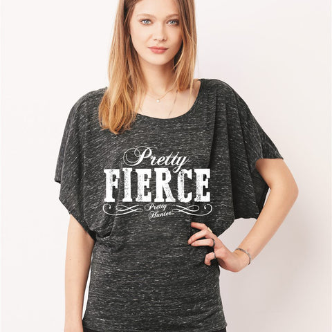 'Pretty Fierce' Charcoal Flowy Sleeve Dolman Tee