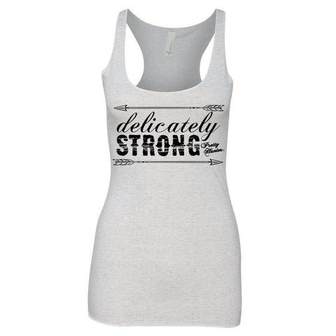 'Delicately Strong' White Fleck Triblend Racerback Tank - Prettyhunter.com