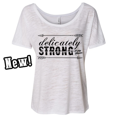 'Delicately Strong' White Slouchy Tee - Prettyhunter.com