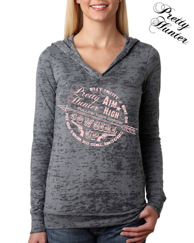 Grey Burnout Hoody with Sassy Circle Graphic