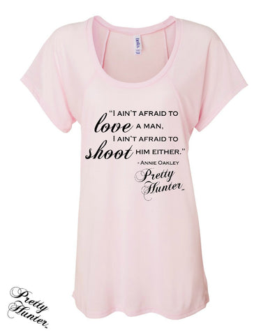 Flowy Raglan Style T-Shirt in Pale Pink With Annie Oakley Quote