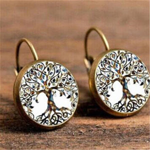 Luokey Vintage Charm Peacock Hoop Earrings Women Round Cabochon Glass Earrings Bohemia Ethnic Earings Wedding Hoops Jewelry 2020