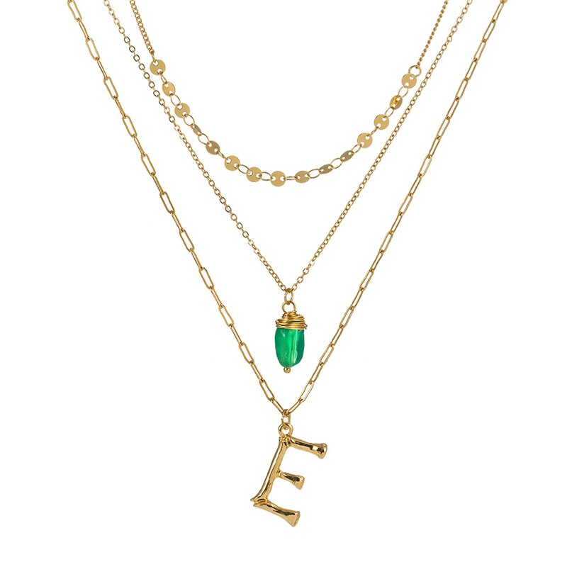 Luokey Vintage A-Z Alphabet Letter Necklace Multilayer Dainty Initial Necklaces Choker Chains Name Jewelry For Women Accessories
