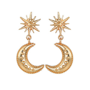 Luokey Antique Sun Flower Alloy Hanging Dangle Earrings For Women Gold Color Vintage Moon Drop Earrings Bohemian Brincos Jewelry (ERCY1170)