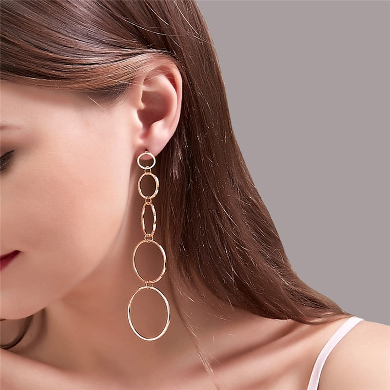 New Round Circle Dangle Earrings Long Geometric