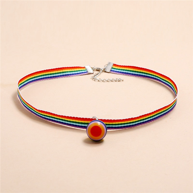 Luokey Charming Colorful Rainbow Candy Color Choker Necklace Cute Sexy Simple Clavicle Collar Necklaces Friendship Lucky Jewelry