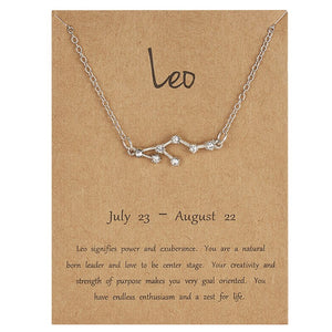 Luokey 12 Constellation Necklace Silver Color Chain Scorpio Aries Cancer Virgo Gemini Zodiac Sign Choker Necklace For Women Gift