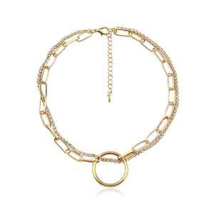 Luokey Punk Crystal Choker Chains Necklaces Gold Color Double-Layer Round Circle Pendant Necklace For Women Goth Jewelry Collier