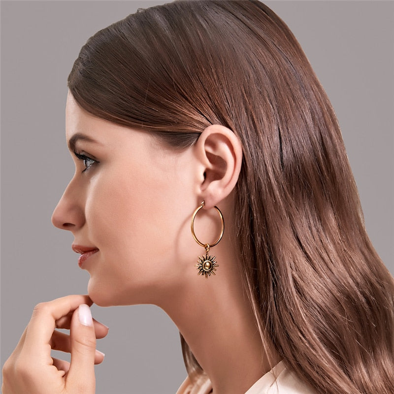 Antique Color Hoop Earrings Women Fashion Collier
