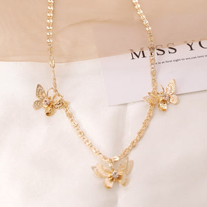 Luokey Women Butterfly Choker Collares Romantic Gold Color Stereo Animal Insect Necklace Female Girl Statement Jewelry Wholesale