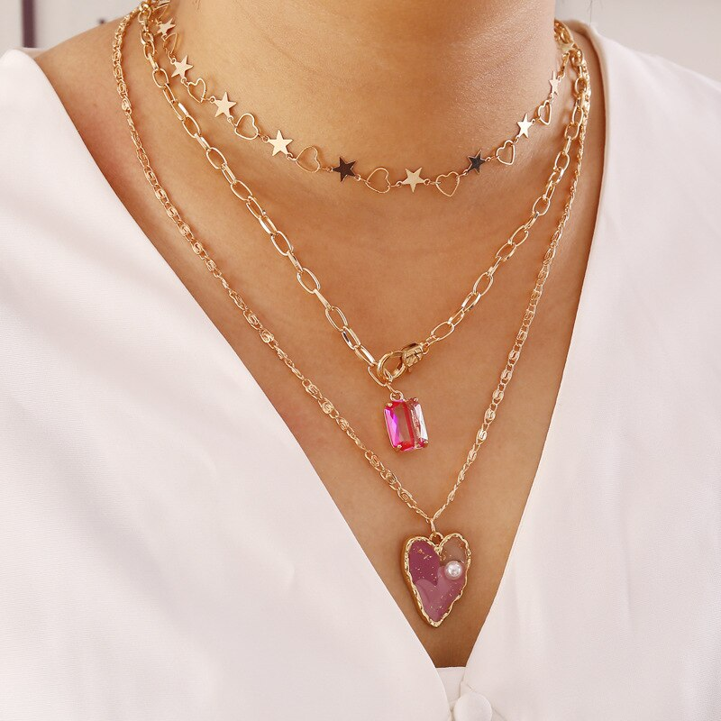 Luokey Women Gold Color Star Heart Choker Necklaces Pink Rhinestone Pendant Necklace Female Girls Party Boho Jewelry Accessories