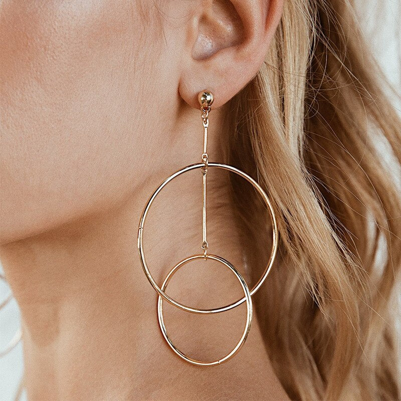 Luokey Simple Hoop Earrings For Women Minimalist Double Circle Statement Earrings Metal Hollow Gold Silver Color Jewelry Brincos