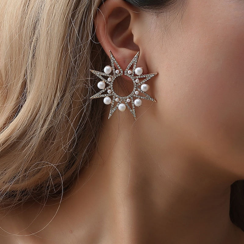 Geometric Sun Flower Stud Earrings With  Luxury Pearl