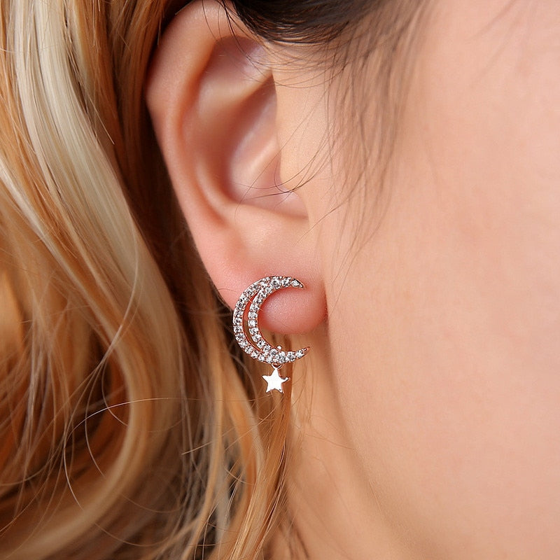 Rose Gold Girls Ear Studs Luxury Crystal Moon Mini Star Earrings