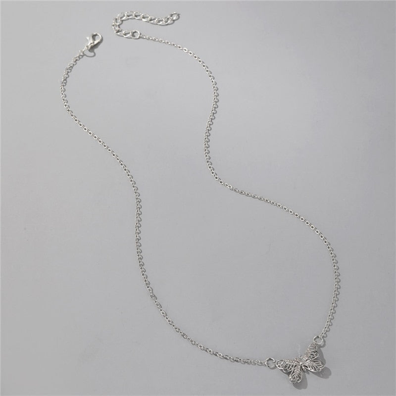 Simple Hollow Clavicle Chain Crystal Butterfly Necklace