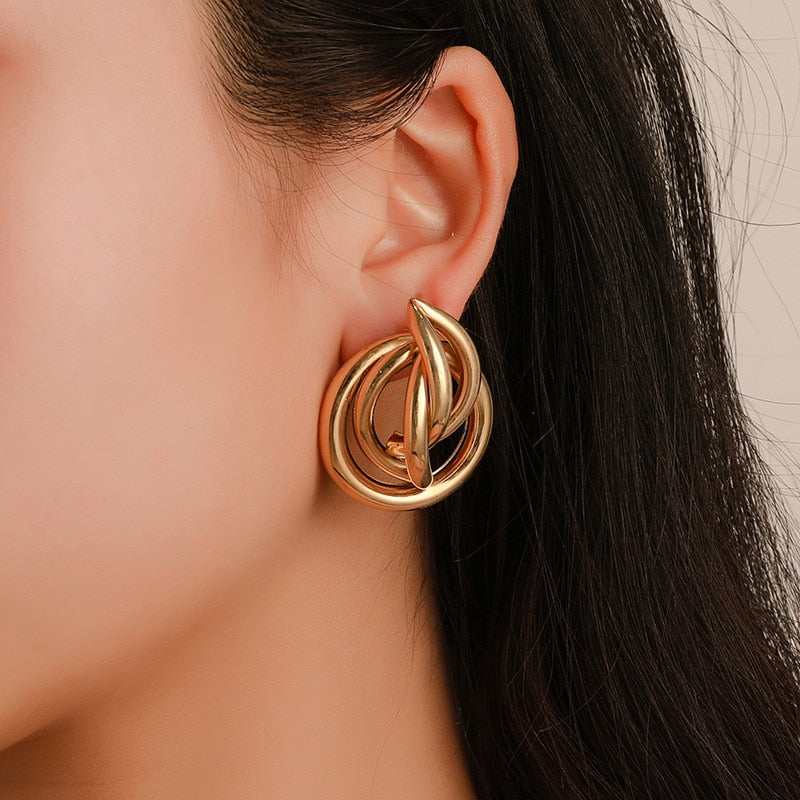 Irregular Gold Stud Vintage Metal Punk Earrings Range