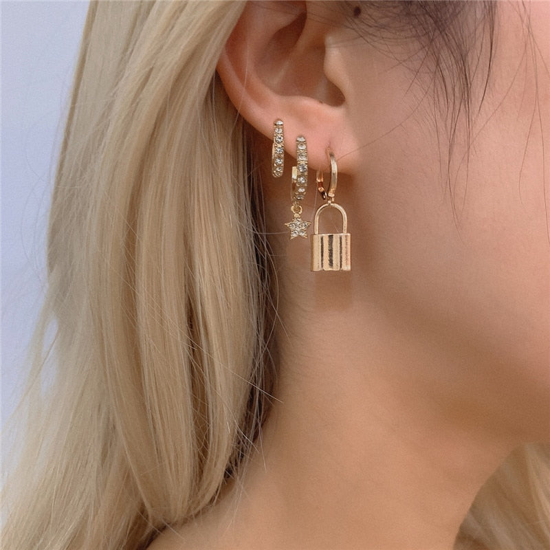Luokey 2020 Lock Earrings For Women Padlock Pendant Gold Huggie Hoops Earrings Hiphop Punk Earrings Fashion Gothic Charm Jewelry