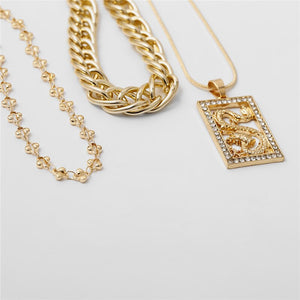 Luokey Simple Handmade Engraved Dragon Pendant Necklace For Women Cuban Link Chain Choker Chunky Thick Punk Men Necklace Jewelry