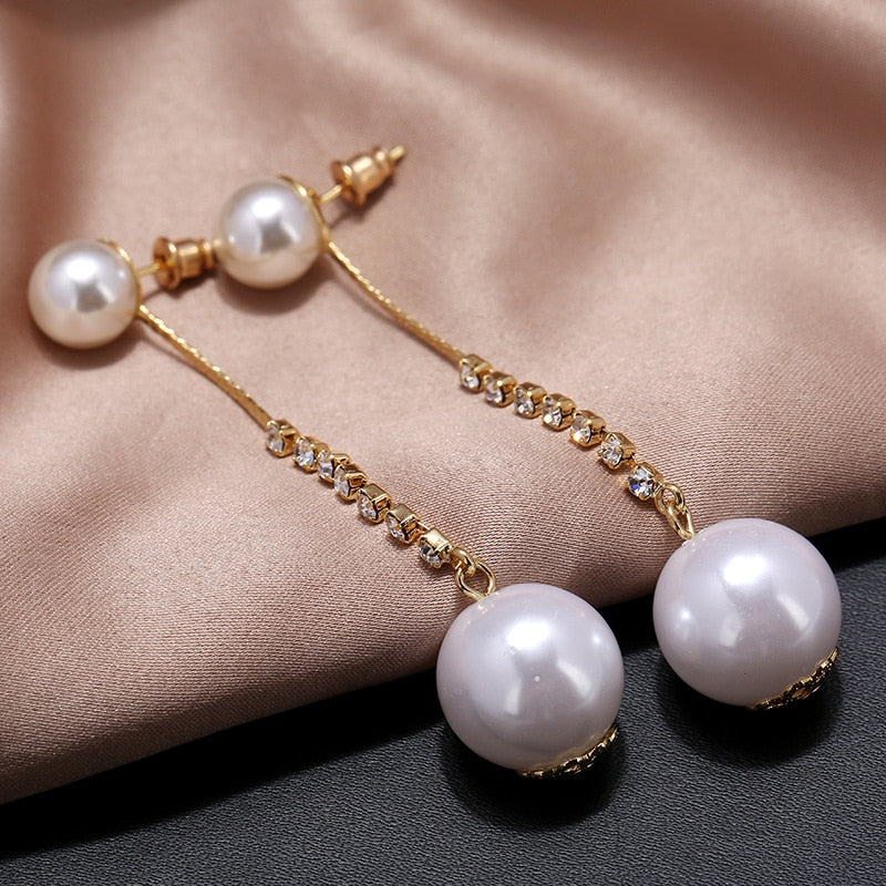 Simple Long Pearl Earrings For Women Korea Design Rhinesto