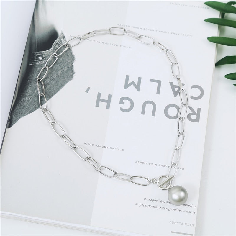 Chunky Chain Statement Round Ball Pendant Necklace