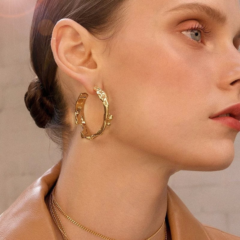 Minimalist Luxury Hoops Earring With Irregular Gold Vintage