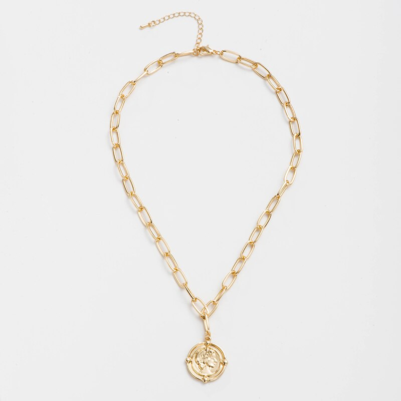 Luokey Vintage Minimalist Jewelry Round Coin Engraved Gold Necklaces For Women Long Chain Boho Pendant Necklace Choker Wholesale