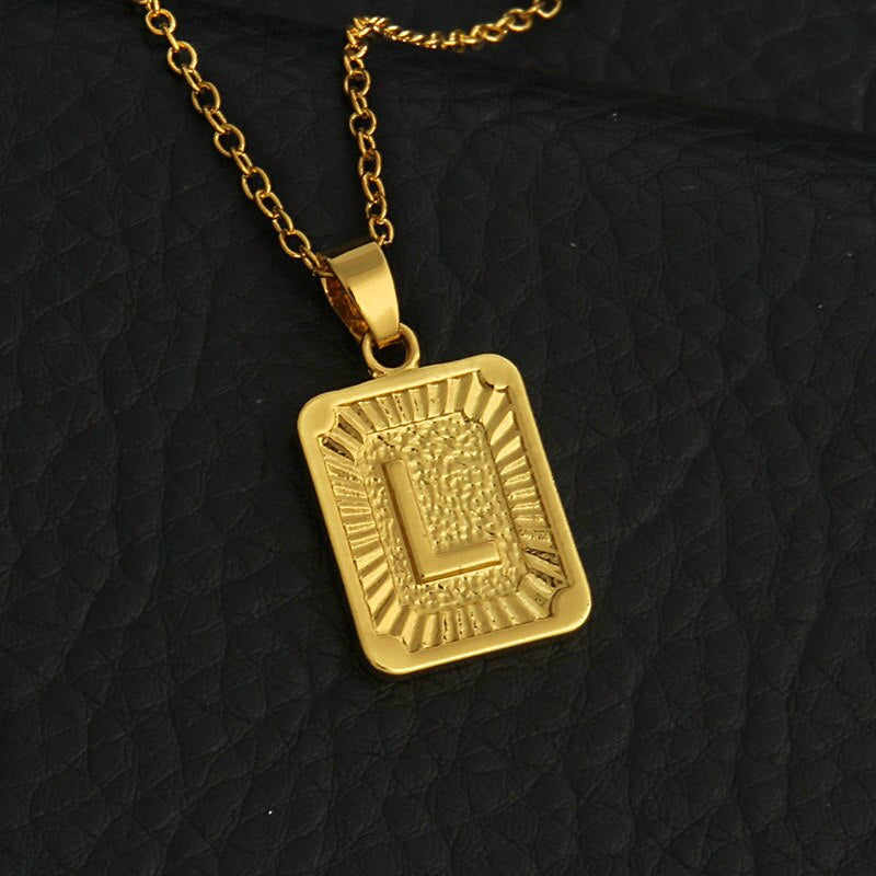 Luokey Punk Fashion A-Z Letter Necklace For Women Men Gold Chain Initial Pendant Necklace Alphabet Collar Choker Hip Hop Jewelry