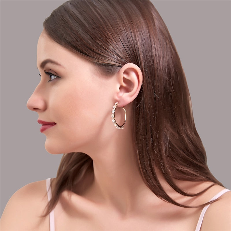 New Elegant Women Crystal Hoop Earrings