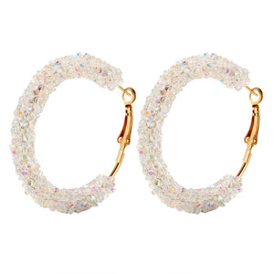 Big Round Hoop Earrings With Large Statement Crystal