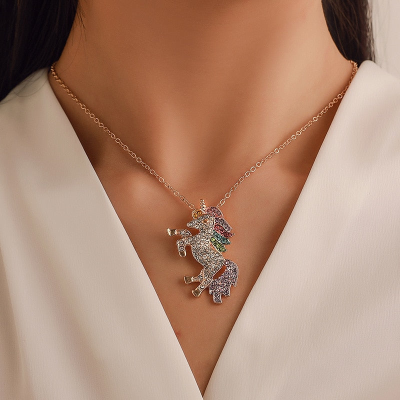 Fashion Colorful Clavicle Chain Crystal Unicorn Necklace