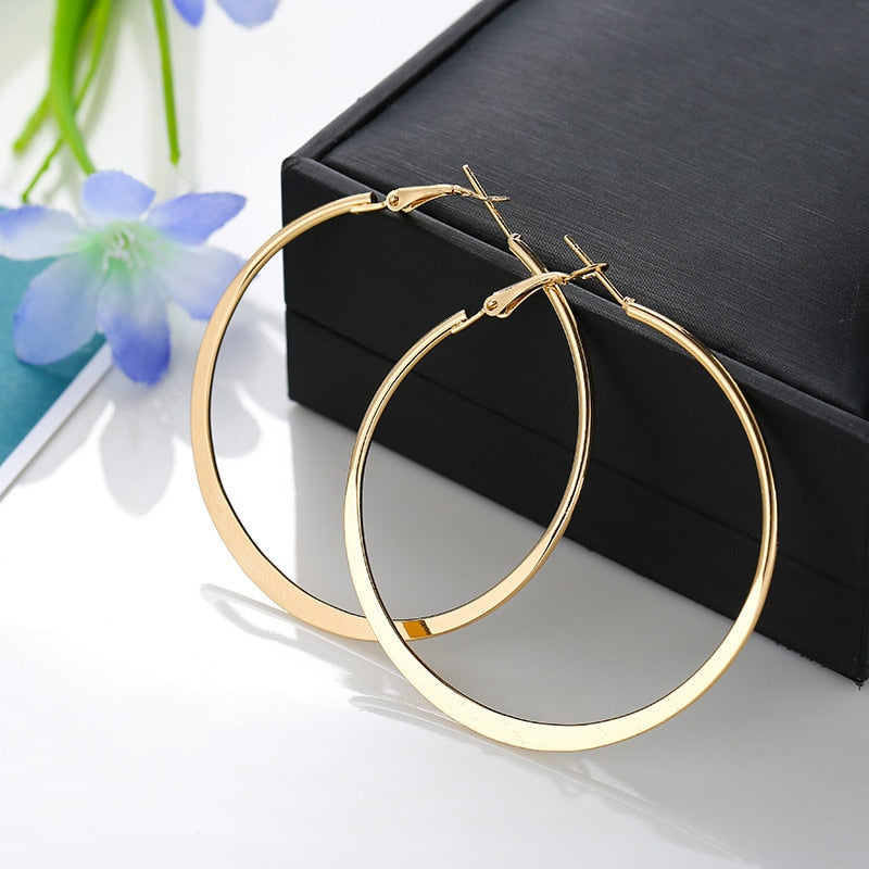 Round Circle Ear Rings Alloy Statement Hoop Earrings