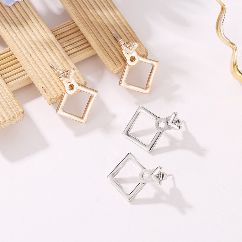 Luokey Fashion Jewelry Cute Dangle Earrings Small Metal Square Drop Earrings 2020 For Women New Elegant Female Brincos Oorbellen