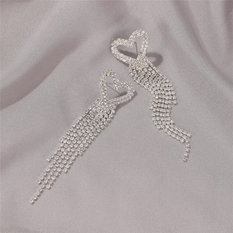 Luokey Women Wedding Long Tassel Crystal Dangle Earrings Bride Party Luxury Heart Drop Earring 2020 Earings Fashion Jewelry Gift