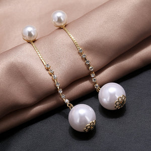Simple Long Pearl Earrings For Women Korea Design Rhinesto  (Style 1)
