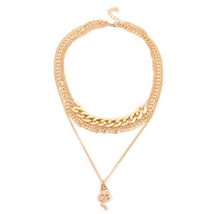 Luokey Fashion Gold Color Snake Pendant Necklace Thick Big Chunky Chain Choker Necklace Statement Collier Jewelry Gift For Women (NKCY0394)