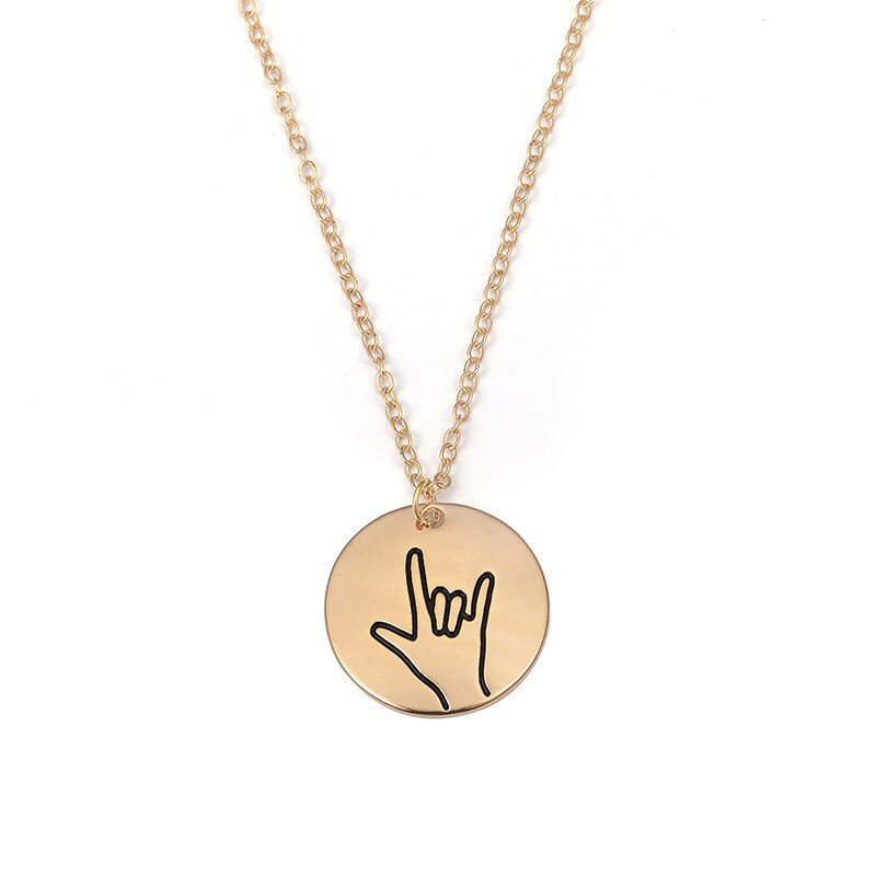 Luokey New Creative Best Friend Necklace Gold Color Sign Language Couples Lovers Pendants Necklaces Valentine's Day Jewelry Gift