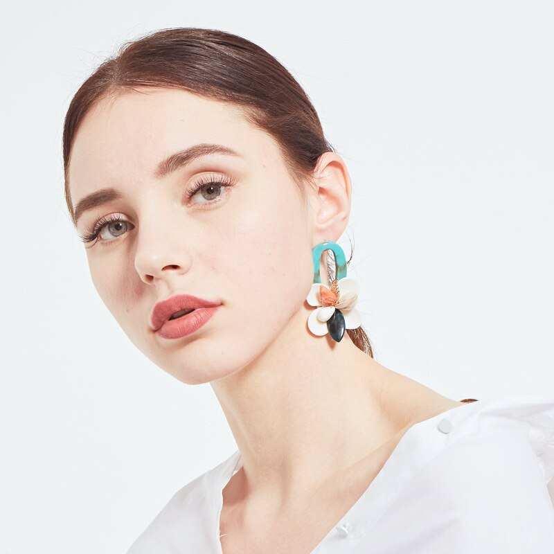 Luokey Fashion Shell Coral Vintage Statement Earrings For Women Exaggerated Flower Leaf Bohemia Dangle Drop Earrings New Jewelry